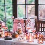 pink and copper table setting