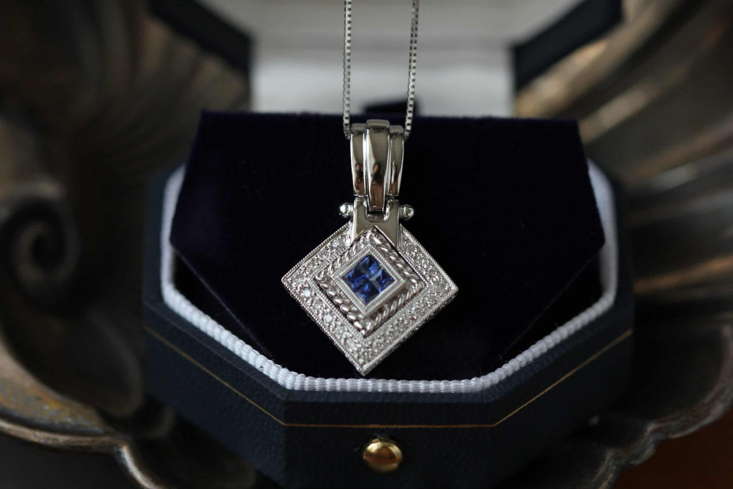 silver necklace with sapphire