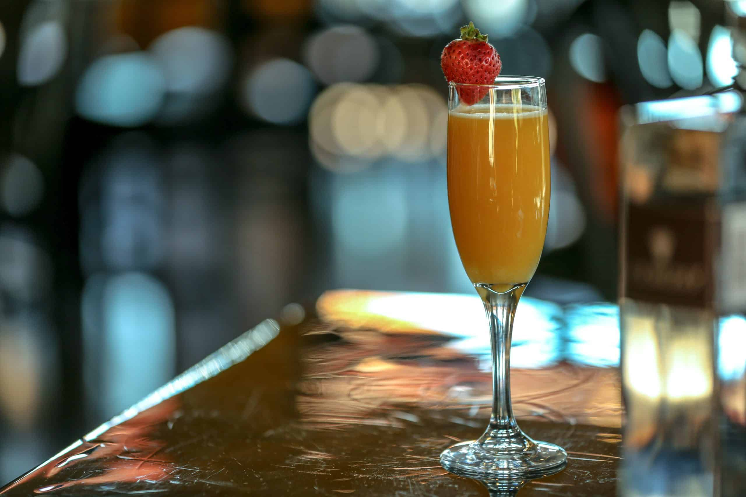 mimosa in champagne glass